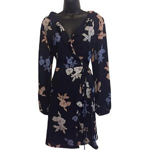 Astr Navy Blue Floral Wrap Dress